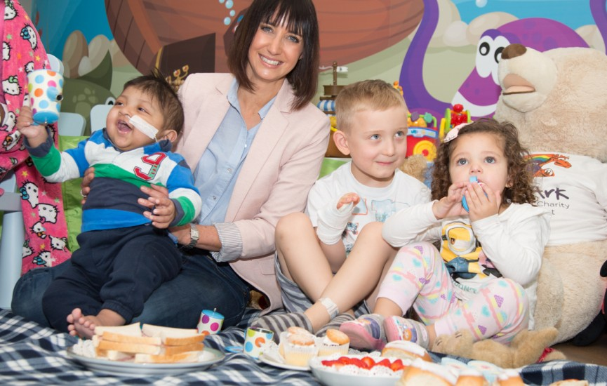 Lucy Owen has a picnic with children from Noahs Ark Childrens Hospital in Cardiff to launch their picnic campaign for 2016