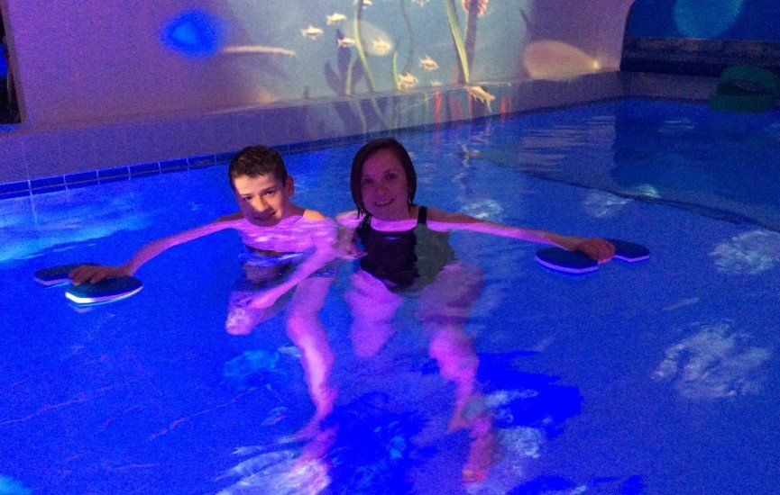 Matt with his physio Sharon in the hydrotherapy pool