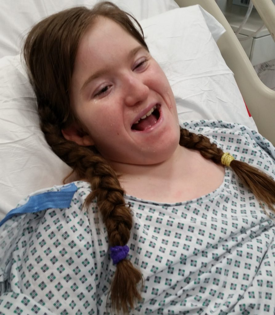 Hannah, a few days after coming off the ventilator