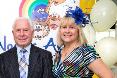 Julie Hayward with Chair of the Noah's Ark Charity, Mr Eddie Hayward