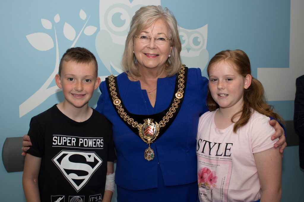 Lord Mayor of Cardiff with patients, Elliot and Daisy
